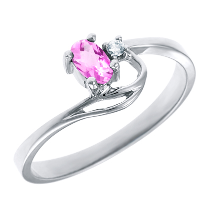 JCX302164: Created Pink Sapphire 5x3 oval (October birthstone) set in 10kt white gold ring with .02ct round diamond accent.