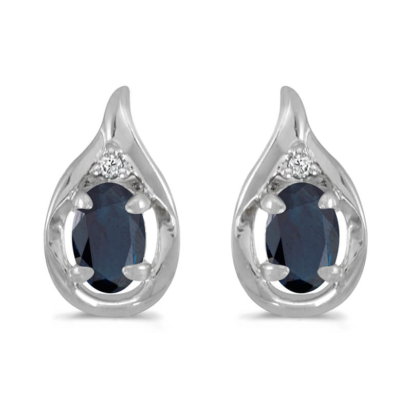 These 14k white gold oval sapphire and diamond earrings feature 6x4 mm genuine natural sapphires ...