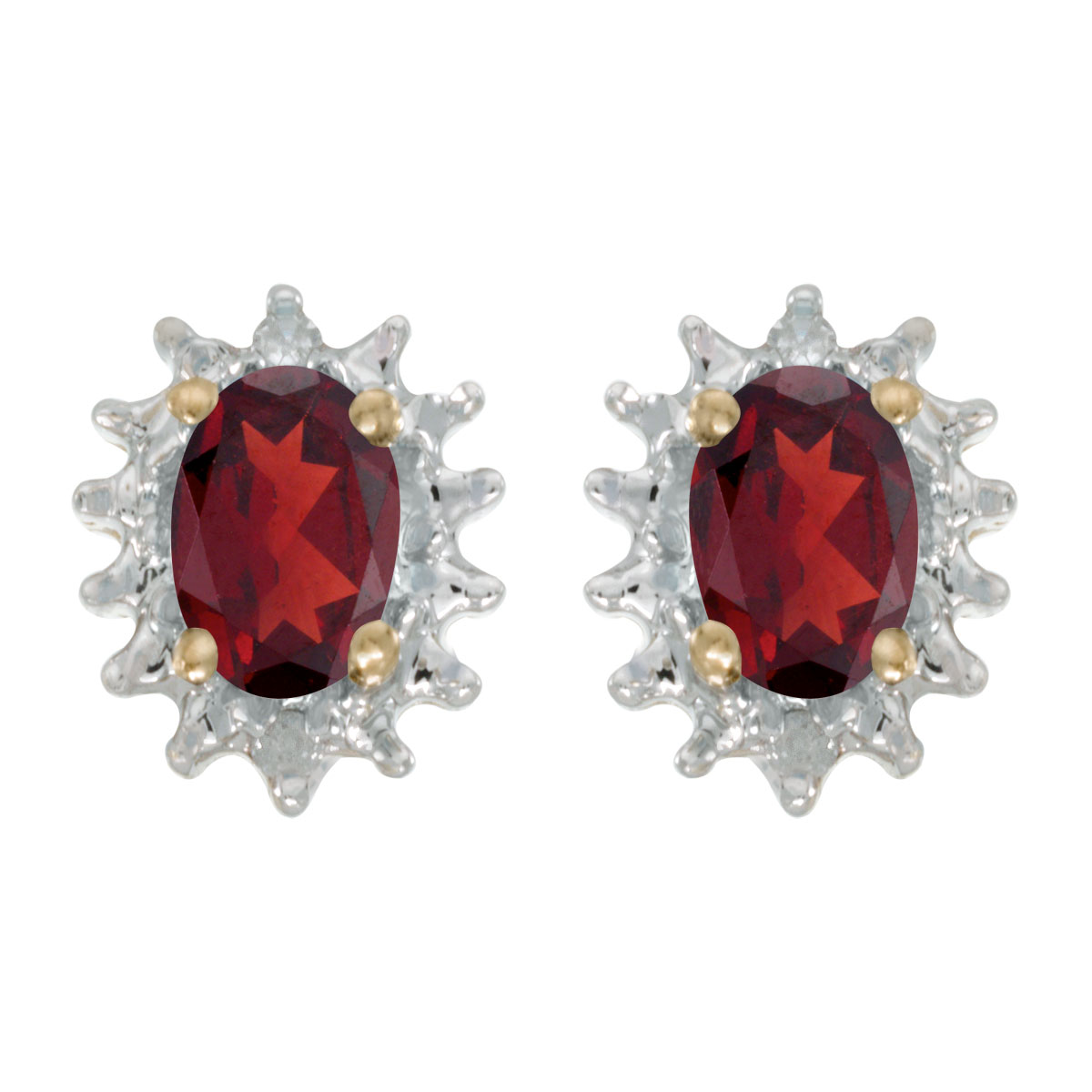These 14k yellow gold oval garnet and diamond earrings feature 6x4 mm genuine natural garnets wit...