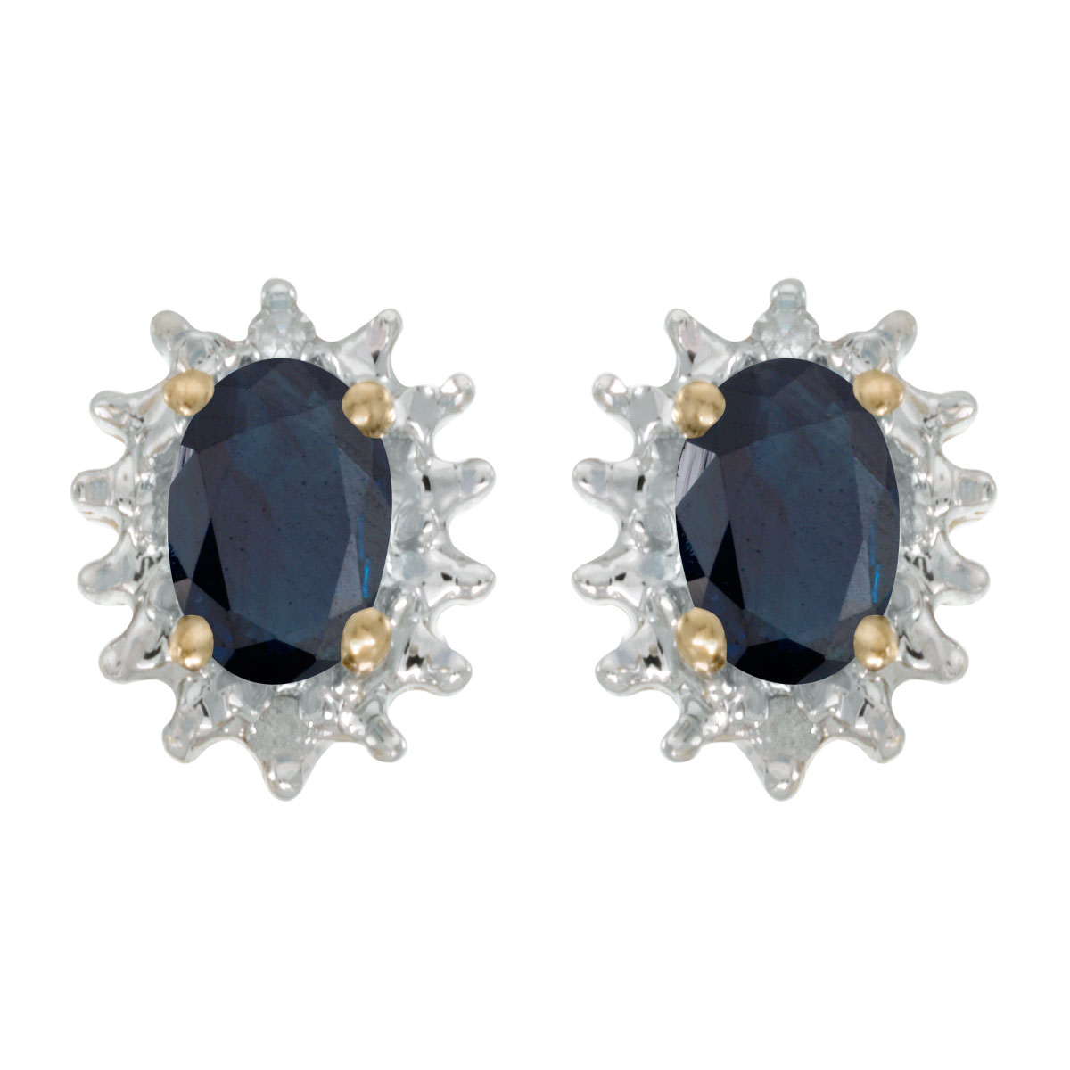 JCX1996: These 14k yellow gold oval sapphire and diamond earrings feature 6x4 mm genuine natural sapphires with a 0.78 ct total weight and .04 ct diamonds.