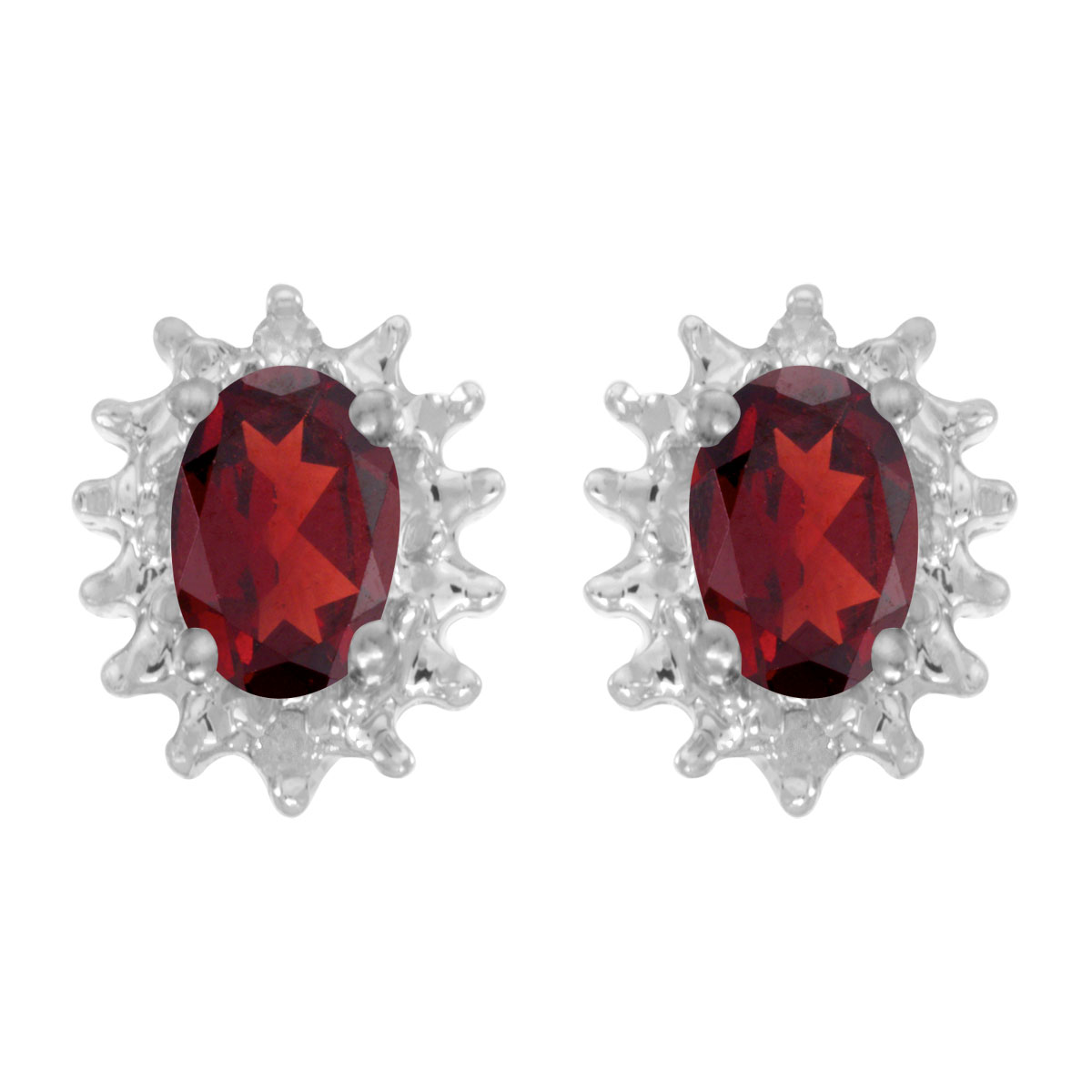 These 14k white gold oval garnet and diamond earrings feature 6x4 mm genuine natural garnets with a 0.94 ct total weight and .04 ct diamonds.