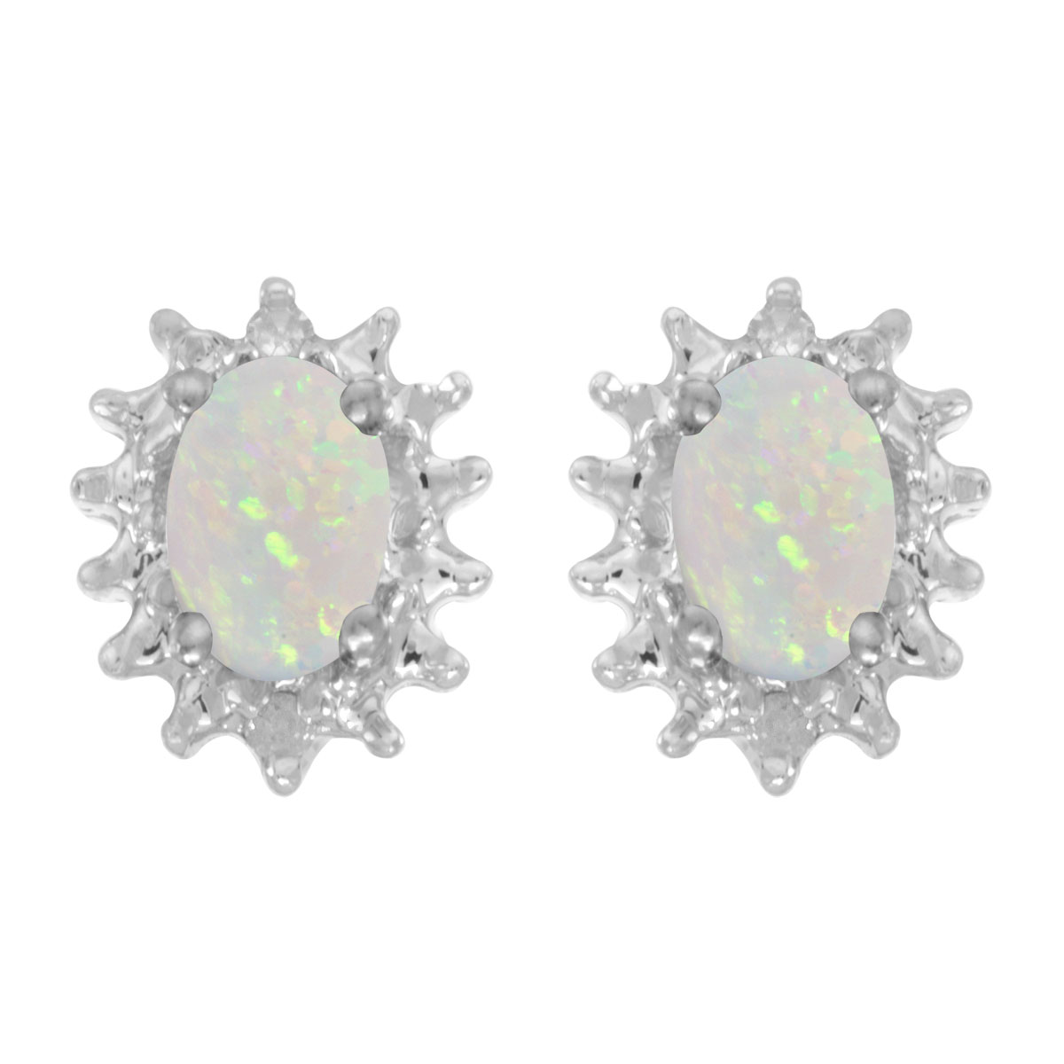 These 14k white gold oval opal and diamond earrings feature 6x4 mm genuine natural opals with a 0...