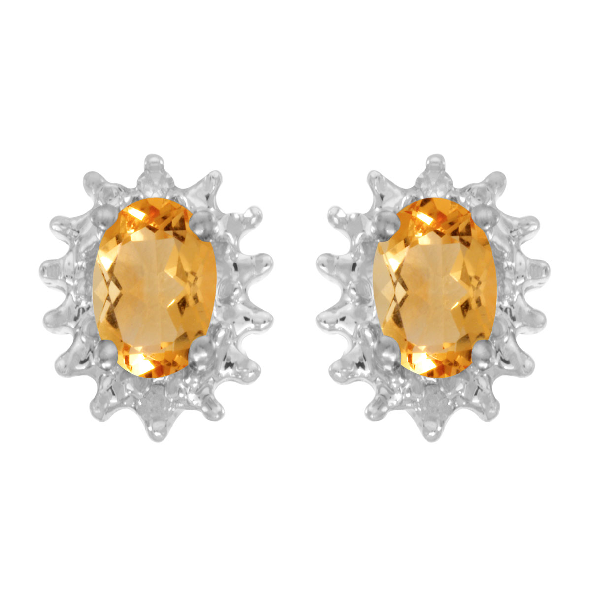 These 14k white gold oval citrine and diamond earrings feature 6x4 mm genuine natural citrines wi...