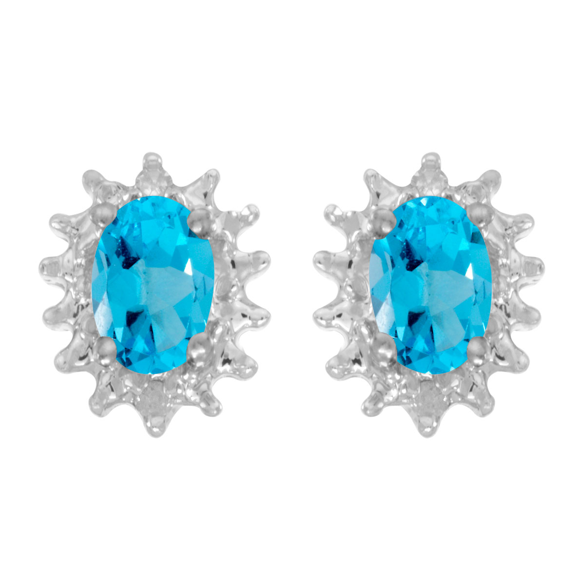 These 14k white gold oval blue topaz and diamond earrings feature 6x4 mm genuine natural blue top...