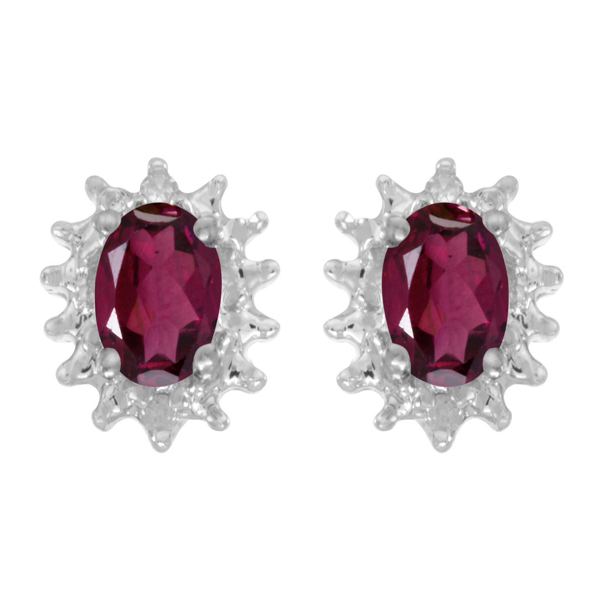 These 14k white gold oval rhodolite garnet and diamond earrings feature 6x4 mm genuine natural rhodolite garnets with a 0.98 ct total weight and .04 ct diamonds.