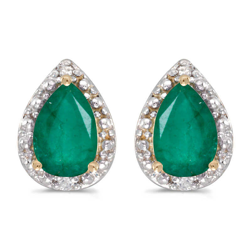 These 14k yellow gold pear emerald and diamond earrings feature 6x4 mm genuine natural emeralds w...