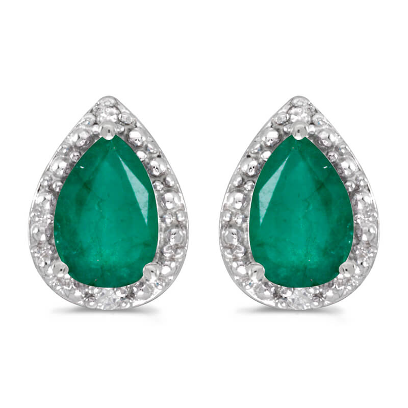 These 14k white gold pear emerald and diamond earrings feature 6x4 mm genuine natural emeralds wi...