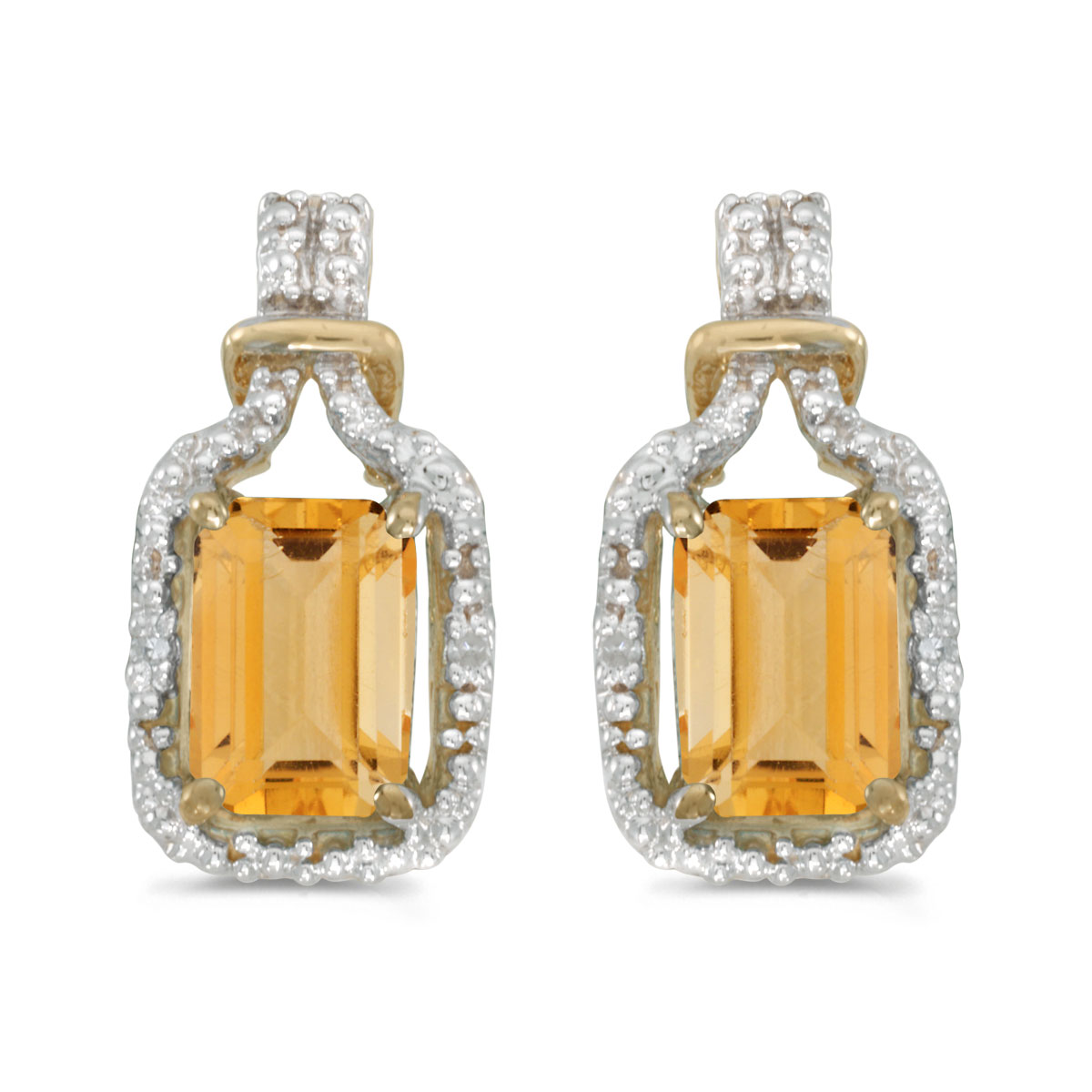 These 14k yellow gold emerald-cut citrine and diamond earrings feature 7x5 mm genuine natural cit...