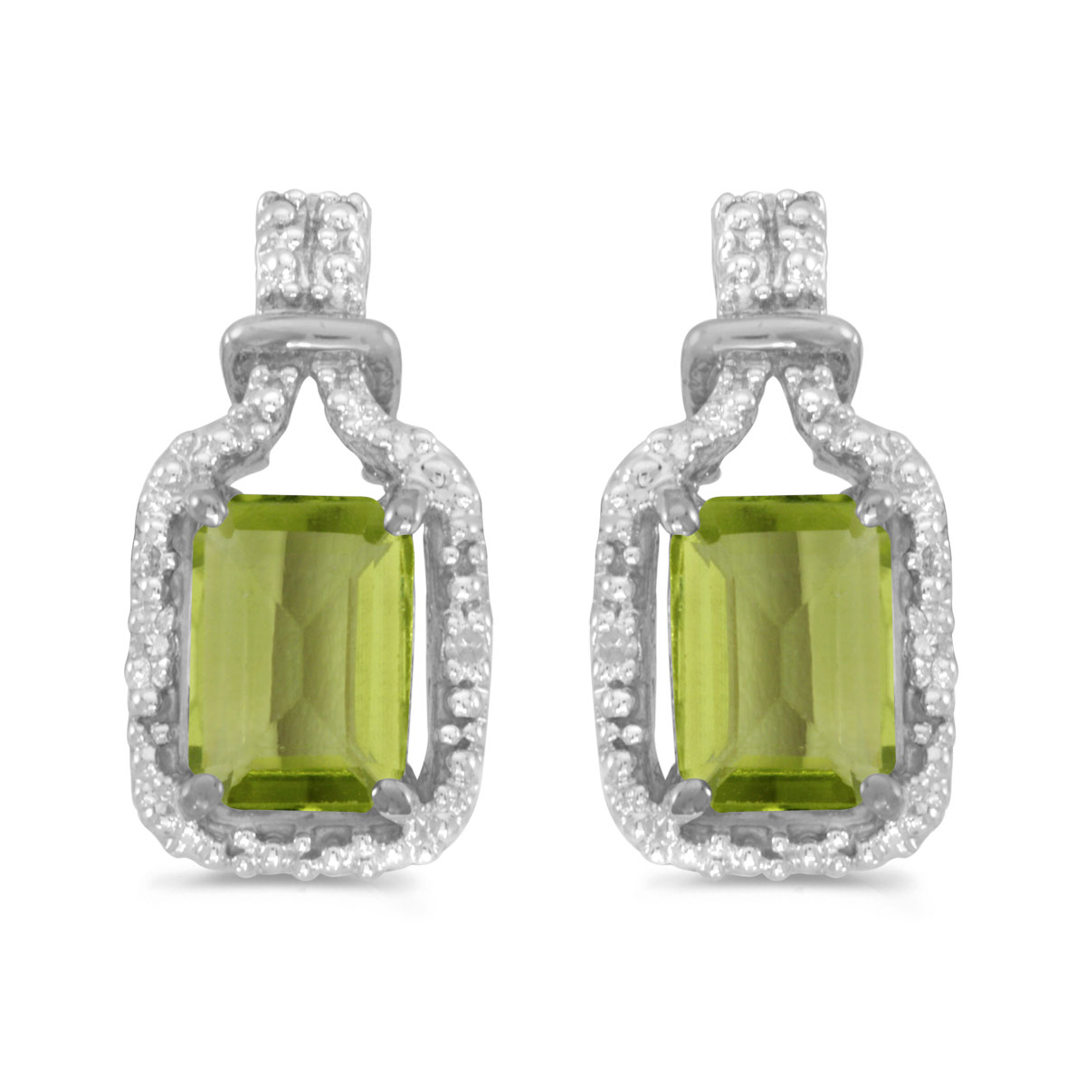 These 14k white gold emerald-cut peridot and diamond earrings feature 7x5 mm genuine natural peri...