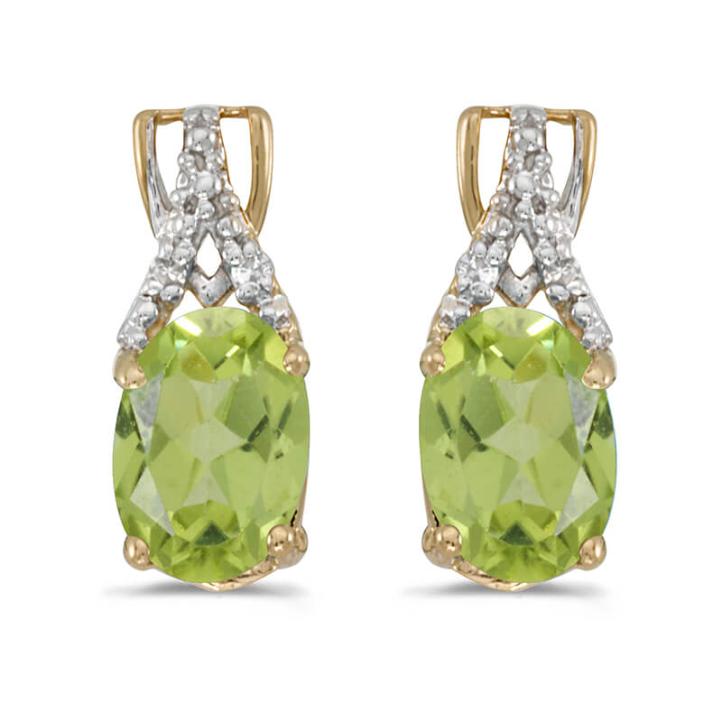 JCX2060: These 14k yellow gold oval peridot and diamond earrings feature 7x5 mm genuine natural peridots with a 1.34 ct total weight and sparkling diamond accents.
