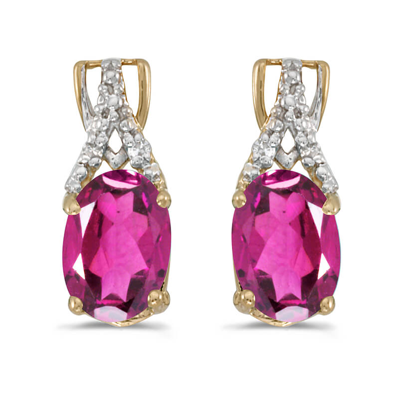 These 14k yellow gold oval pink topaz and diamond earrings feature 7x5 mm genuine natural pink to...