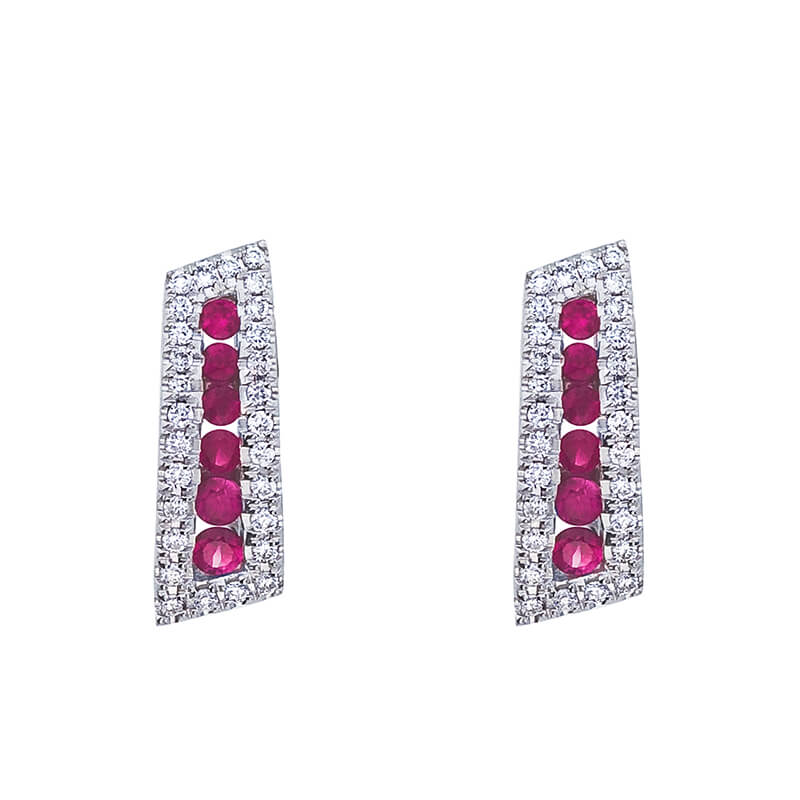 Graceful 14k white gold earrings with stacks of beautiful rubies and .18 carats of shining diamonds.