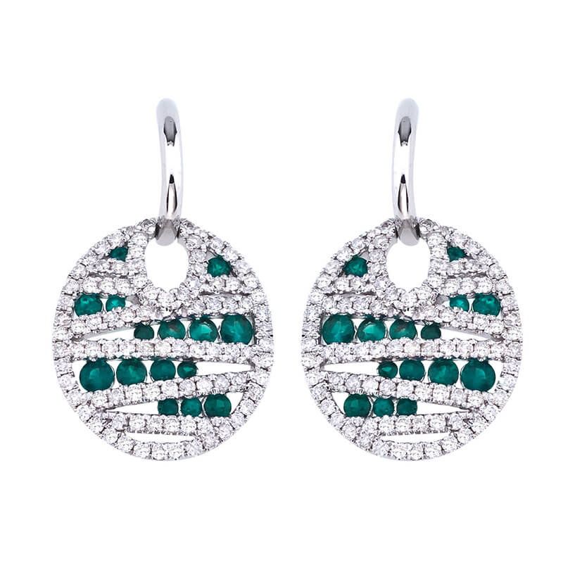 Beautiful Emerald and Diamond lever-back earrings set in 14k white gold with .87 total carat diam...