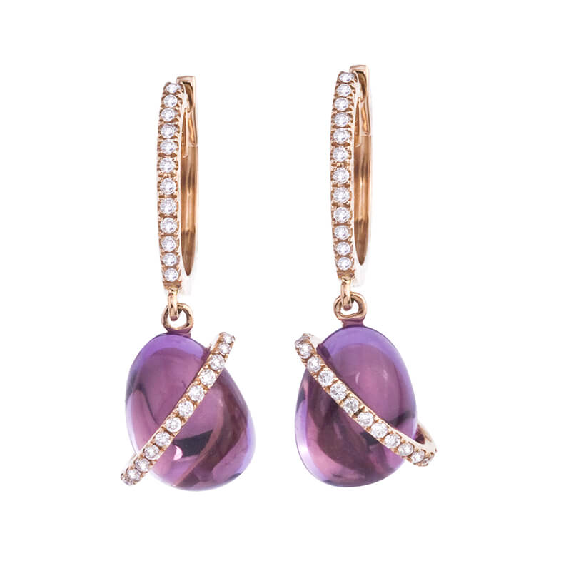 Luminous 9x7 mm cabochon amethyst earrings with a ring of bright diamonds set in 14k rose gold.