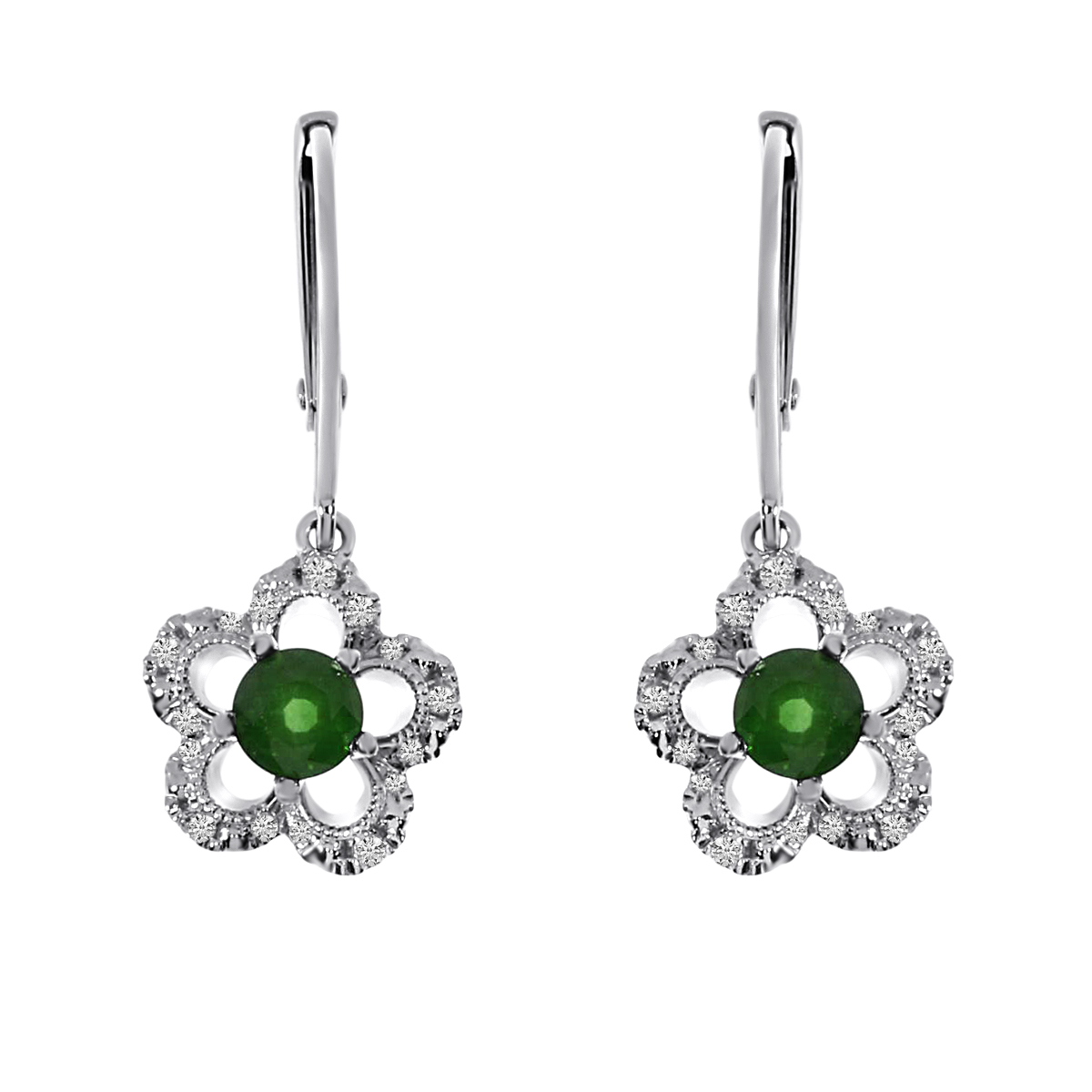 Floral shaped earrings in 14k white gold with 4 mm round emeralds and .11 ct diamonds.
