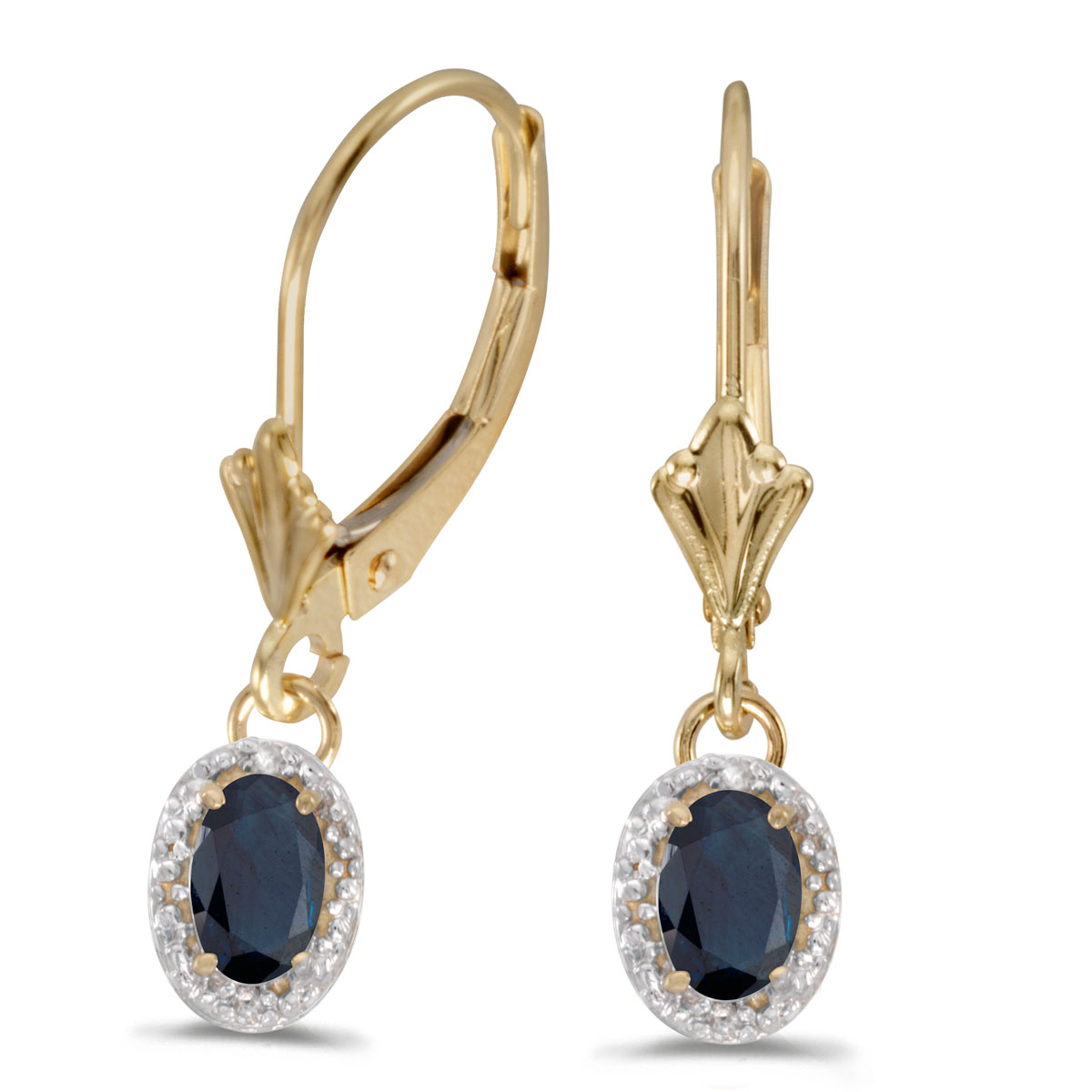 Beautiful 10k yellow gold leverback earrings with bold 6x4 mm sapphires complemented with bright ...