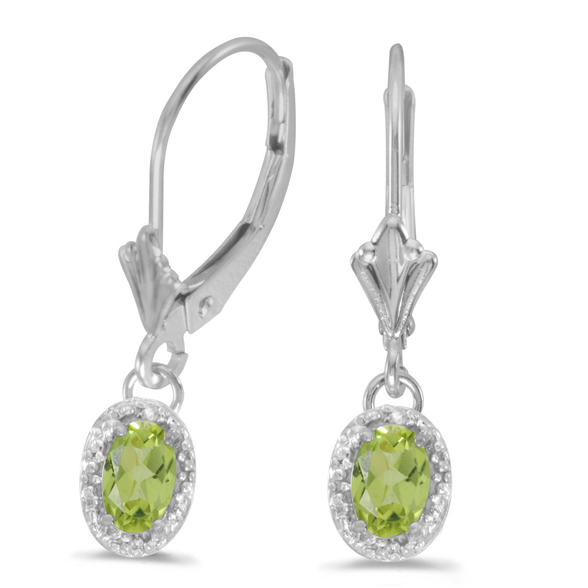 Beautiful 10k white gold leverback earrings with pretty 6x4 mm peridots complemented with bright ...