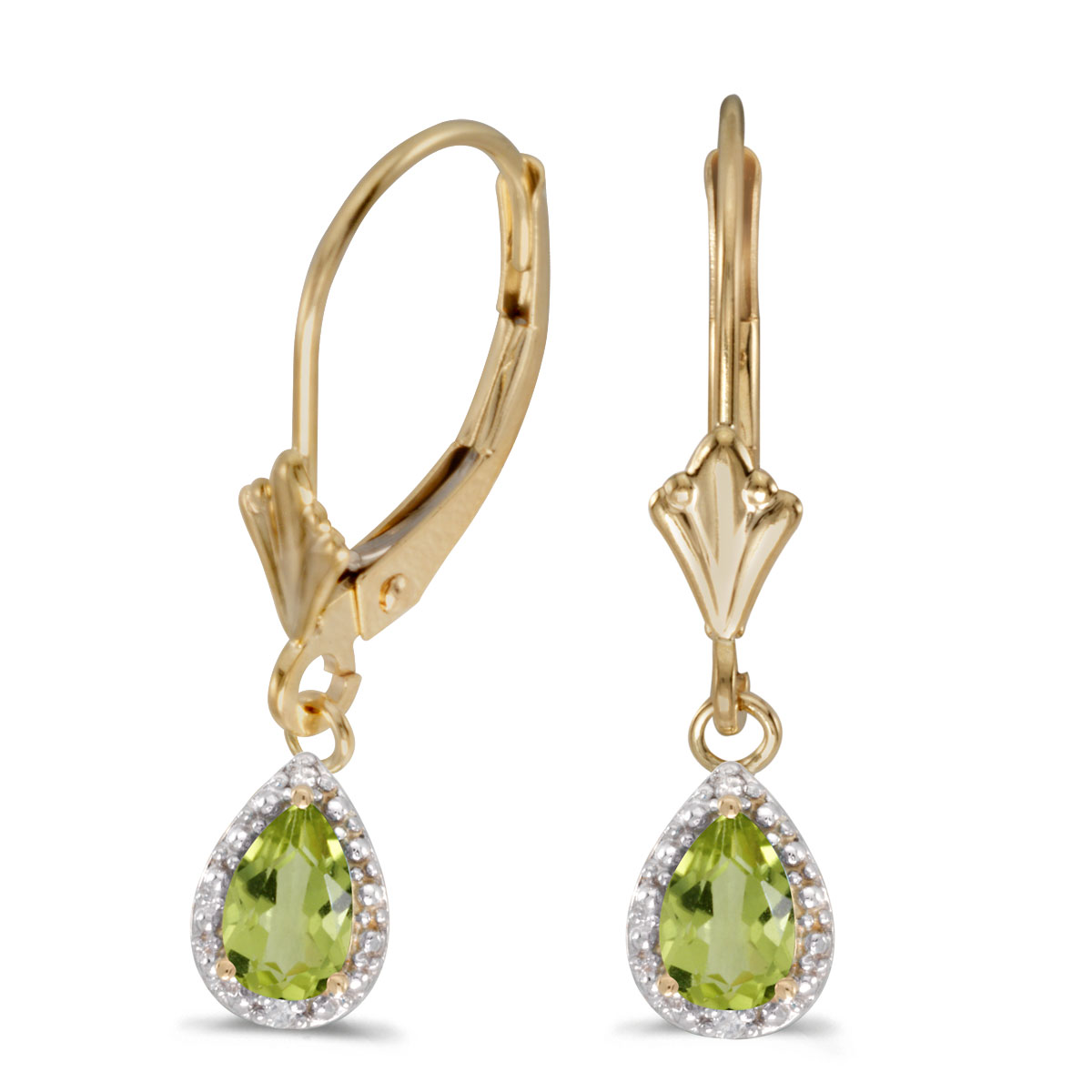 6x4 mm pear peridot dangle in 10k yellow gold with shimmering diamond accents.