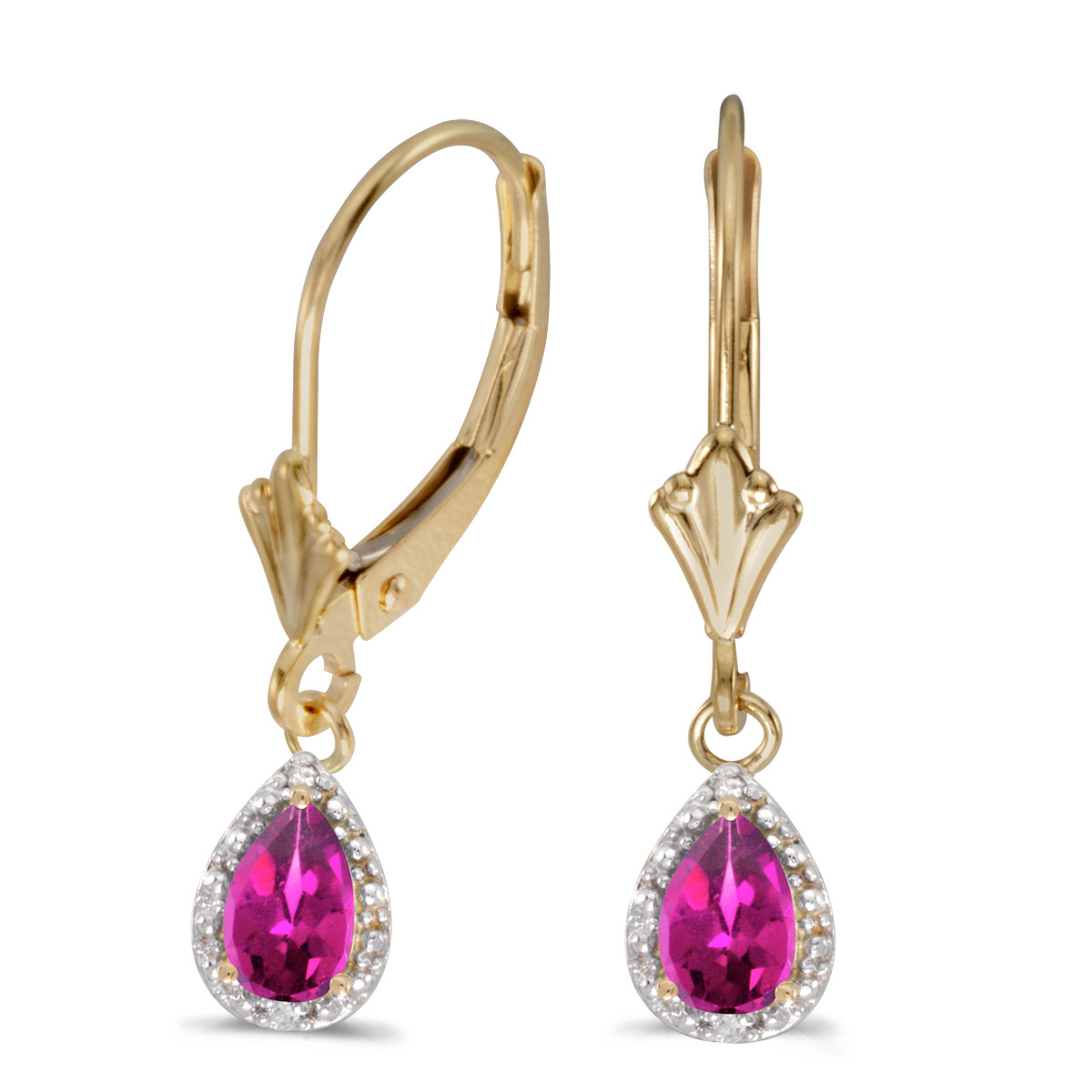 6x4 mm pear pink topaz dangle in 10k yellow gold with shimmering diamond accents.