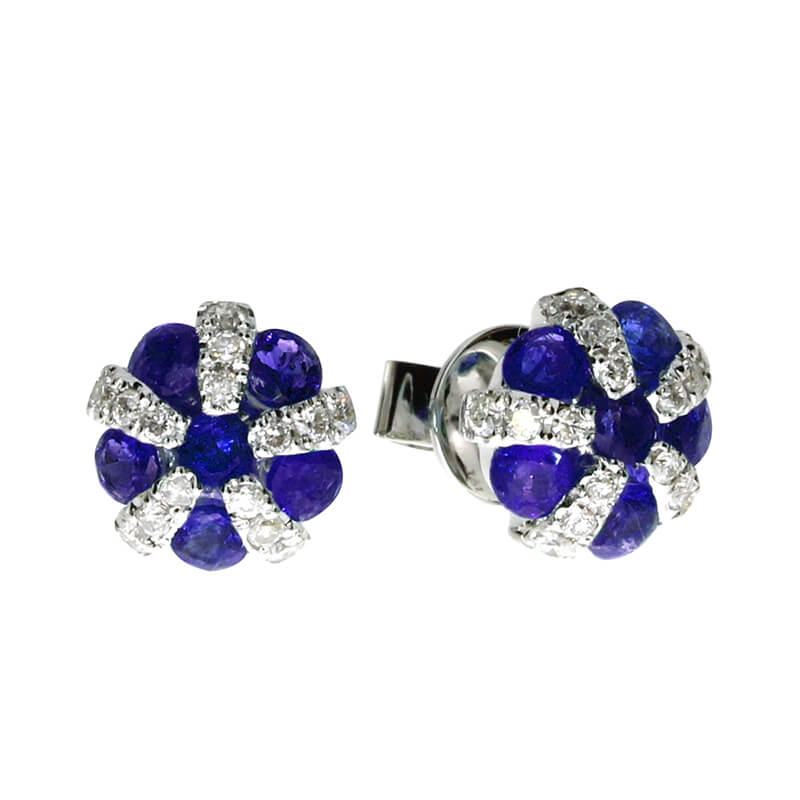 14K White Gold Sapphire and Diamond Ball Earrings