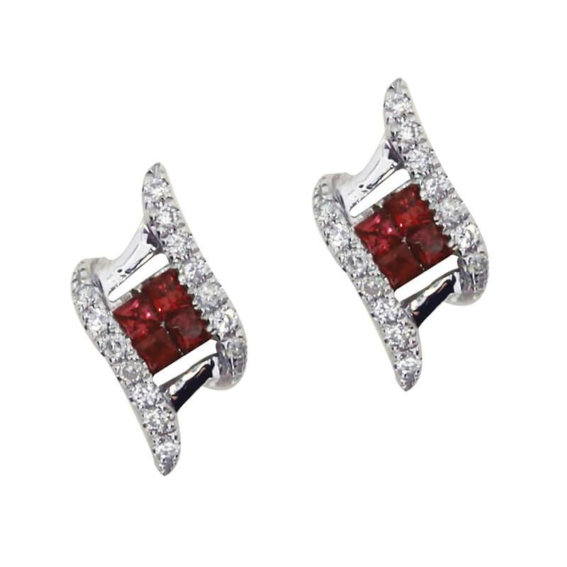 14K White Gold Ruby and Diamond Angled Earrings