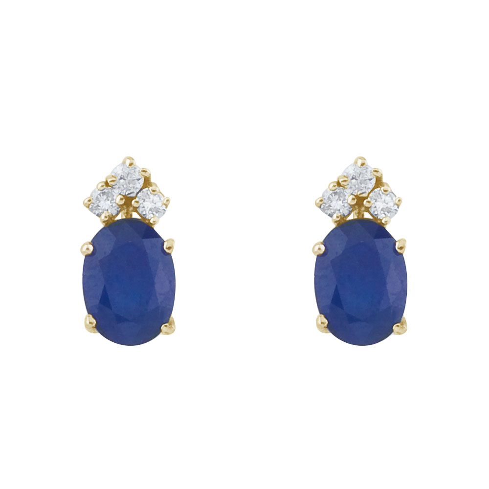These 6x4 mm oval shaped sapphire earrings are set in beautiful 14k yellow gold and feature .12 t...