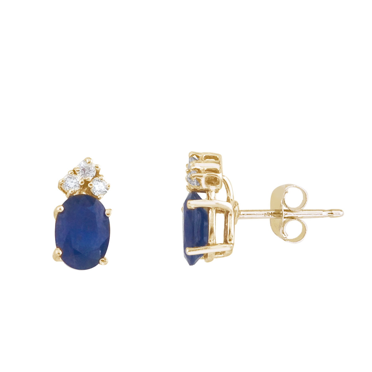 These 7x5 mm oval shaped sapphire earrings are set in beautiful 14k yellow gold and feature .12 t...