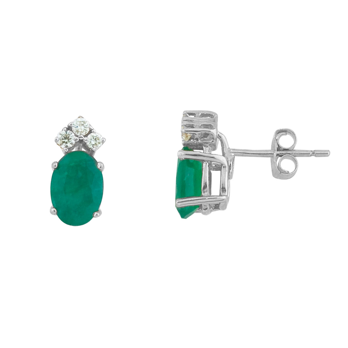 These 7x5 mm oval shaped emerald earrings are set in beautiful 14k white  gold and feature .12 to...