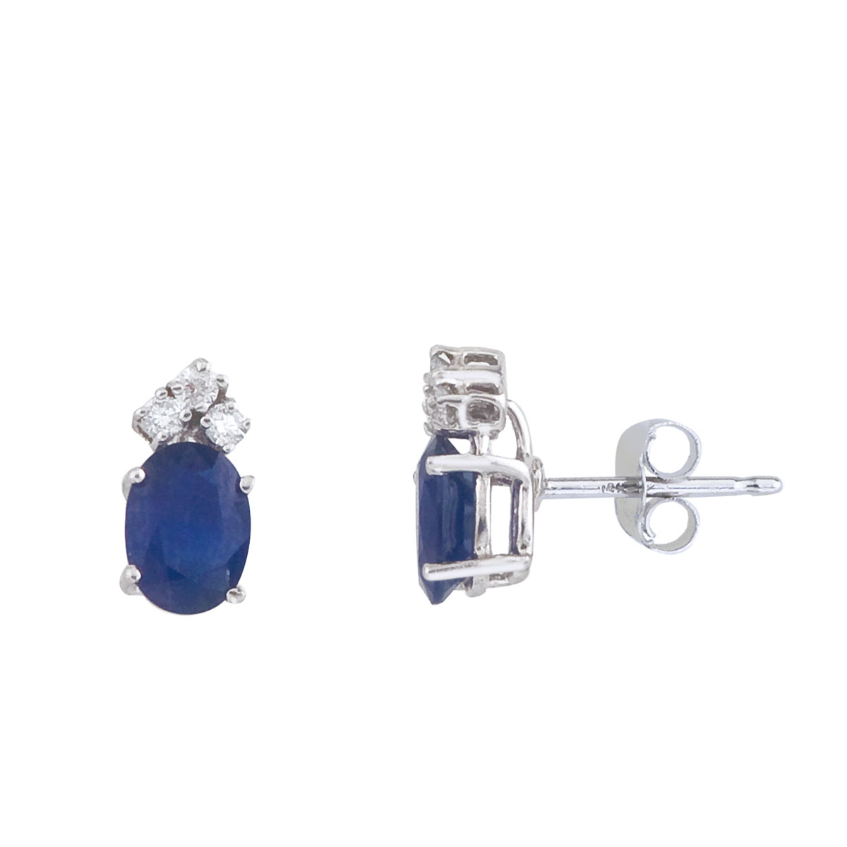 These 7x5 mm oval shaped sapphire earrings are set in beautiful 14k white gold and feature .12 to...