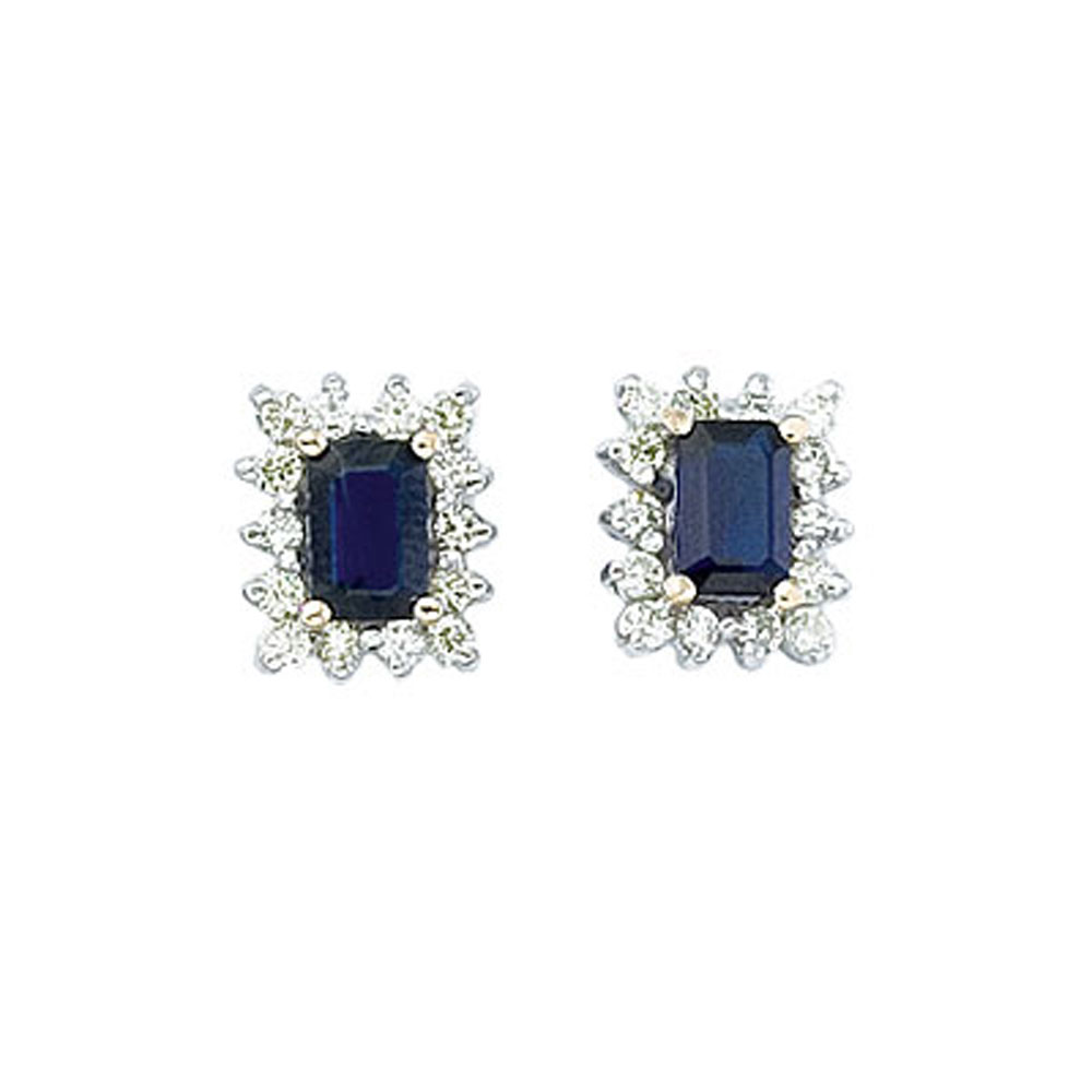 6x4 mm octogon shaped sapphire earrings with .50 total ct diamonds set in 14k yellow gold.