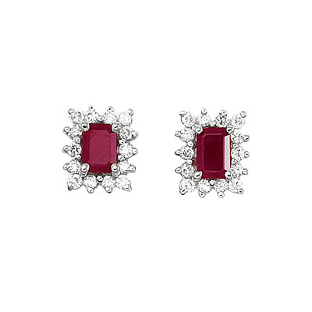 6x4 mm octogon shaped ruby earrings with .50 total ct diamonds set in 14k white gold.