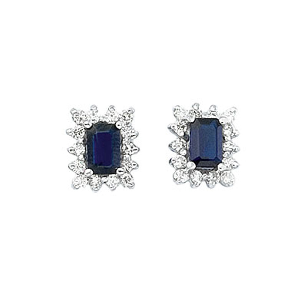JCX2283: 6x4 mm octogon shaped sapphire earrings with .50 total ct diamonds set in 14k white gold.