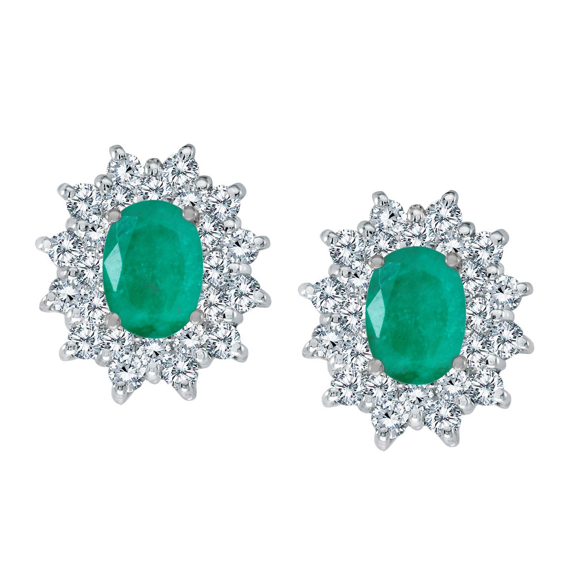 Bright 14k white gold earrings featuring 7x5 mm emeralds surrounded by 1.00 total carat of scinti...