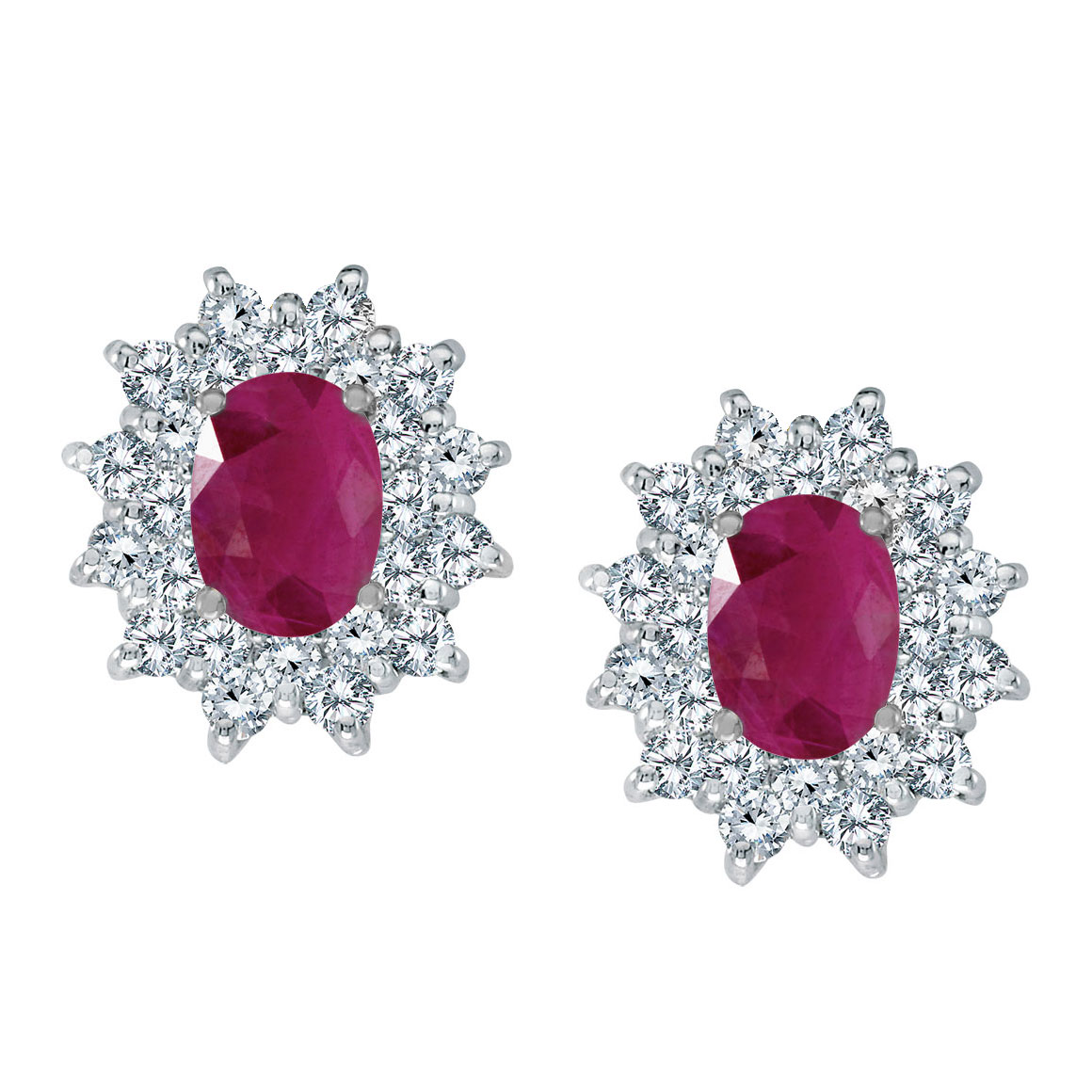Bright 14k white gold earrings featuring 7x5 mm rubies surrounded by 1.00 total carat of scintill...