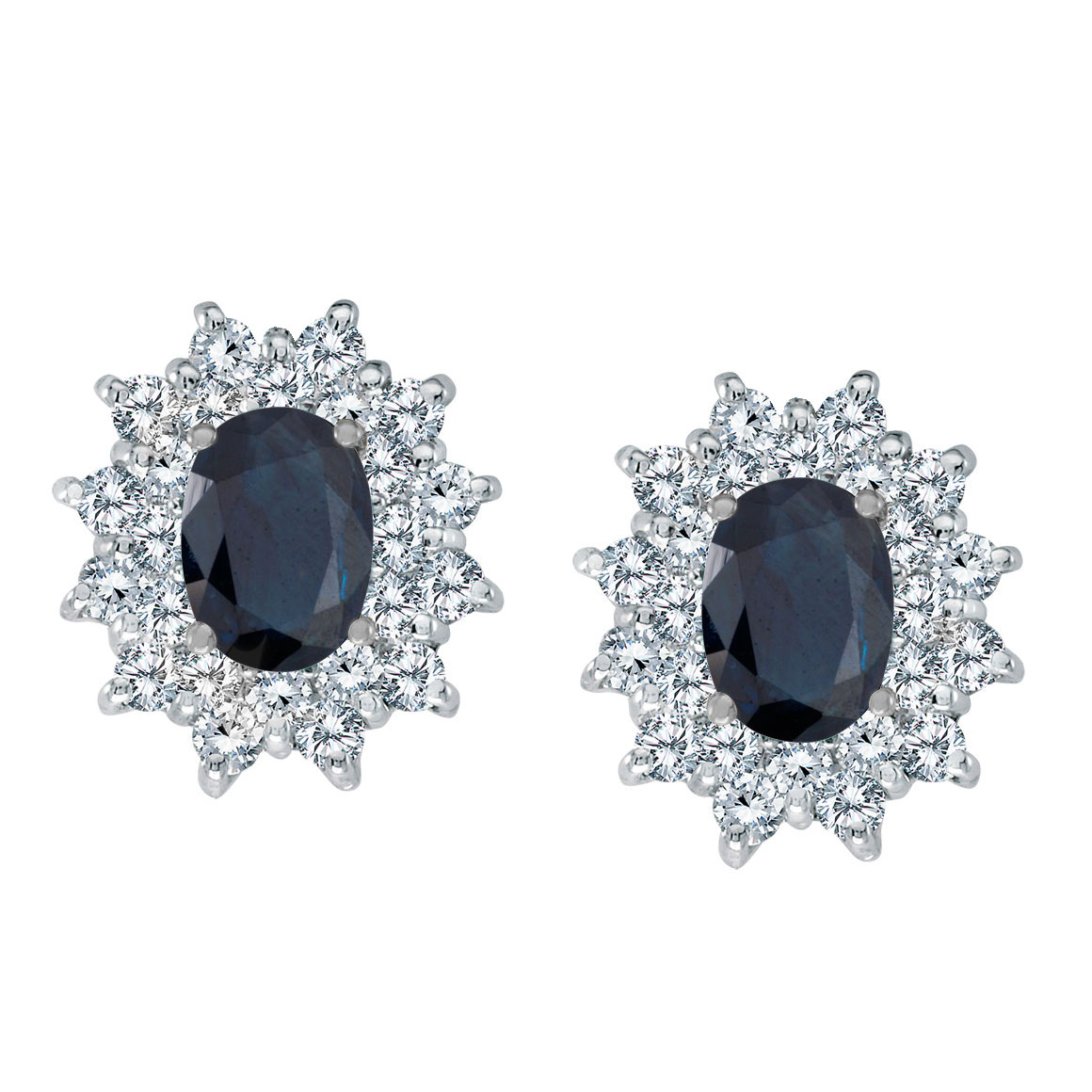 Bright 14k white gold earrings featuring 7x5 mm sapphires surrounded by 1.00 total carat of scint...