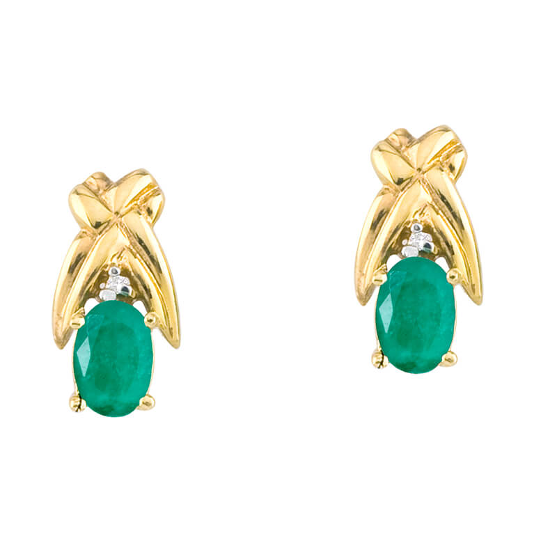 14k yellow gold stud earrings with 6x4 mm pear emeralds and bright diamond accents.