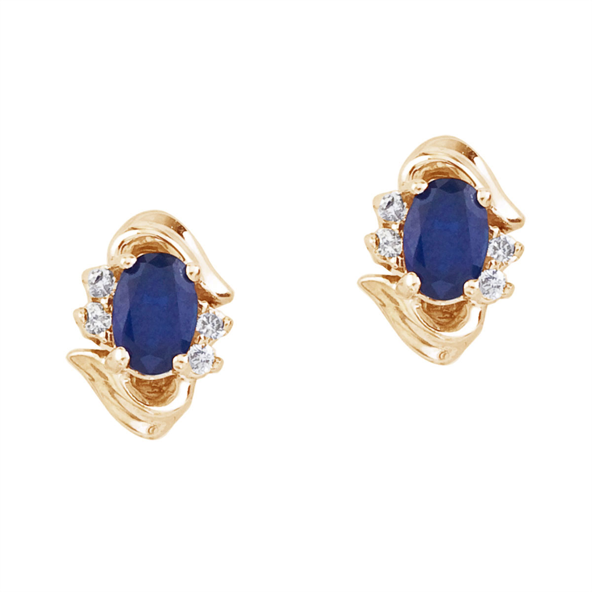Stunning 14k yellow gold and sapphire earrings. Featuring natural 6x4 mm oval saphires and .11 to...