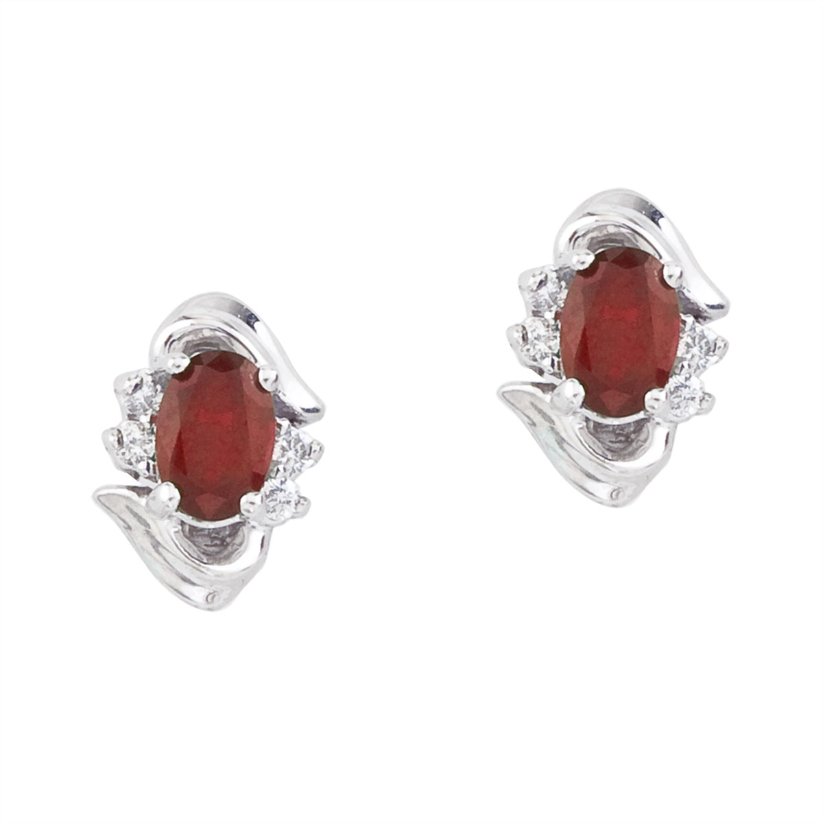 Stunning 14k white gold and ruby earrings. Featuring natural 6x4 mm oval rubies and .11 total car...
