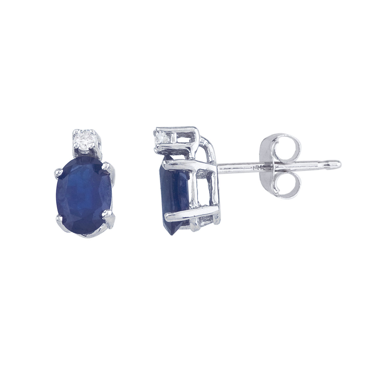 These 6x4 mm oval sapphire earrings are set in beautiful 14k white gold and feature .04 total car...