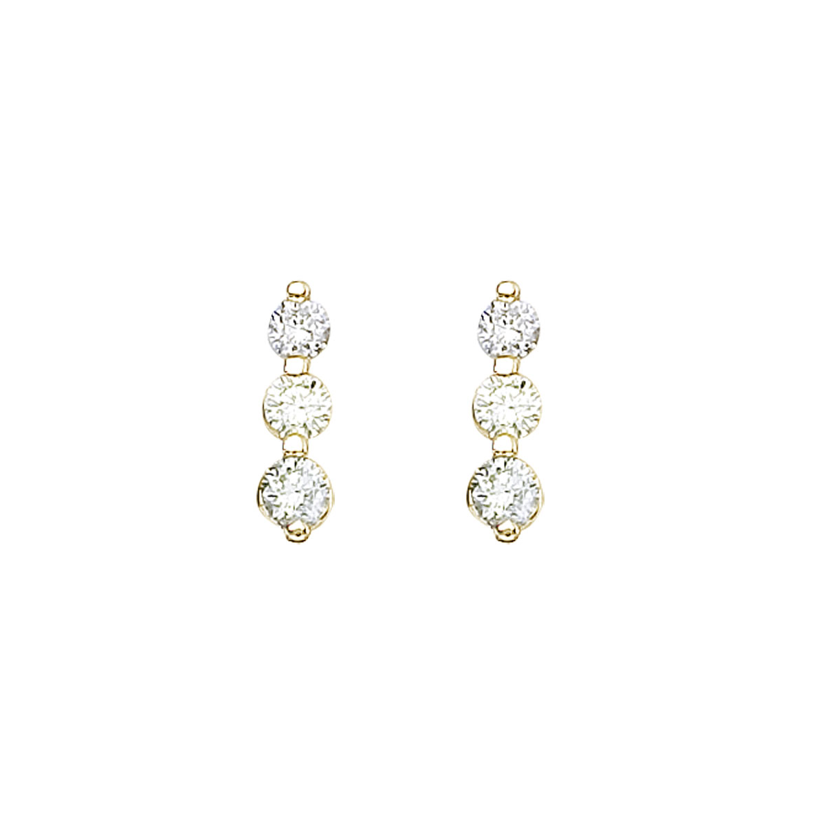 .50 carat three stone diamond earrings set in 14k yellow gold.