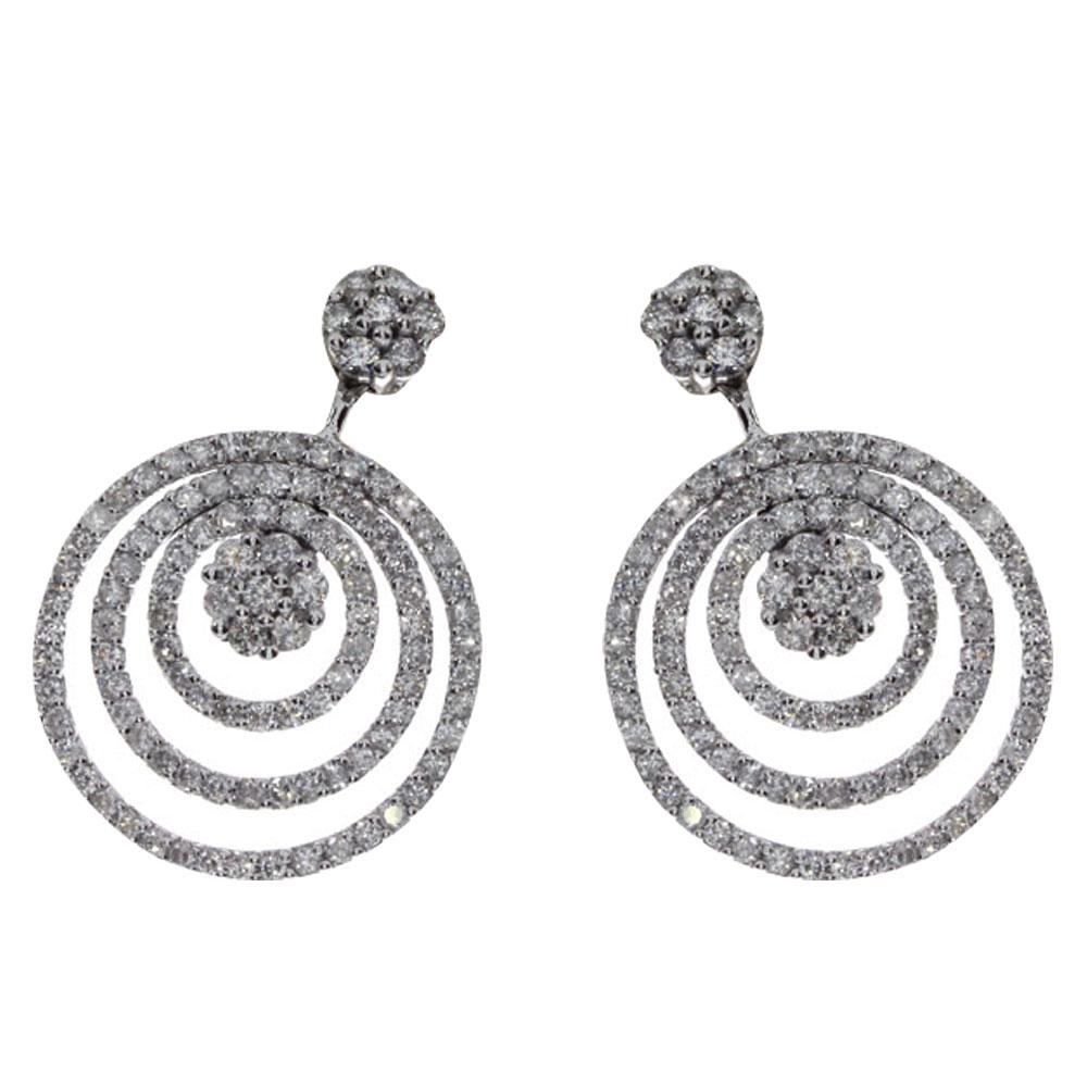 14k White Gold Diamond Circle Drop Earrings