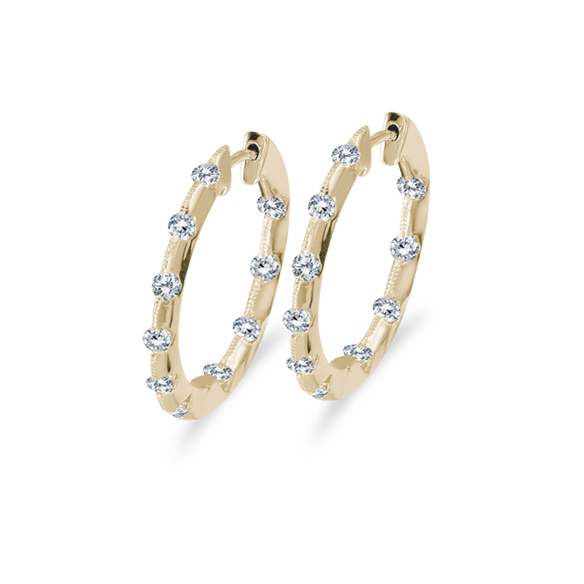 19 mm diamond inside/outside hoop earrings in beautiful 14k yellow gold. The perfect look for day...