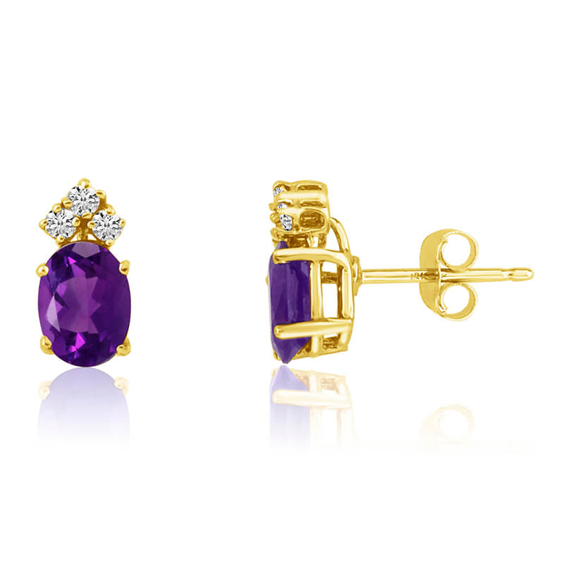 14k Yellow Gold Oval Amethyst Earrings with Diamonds
