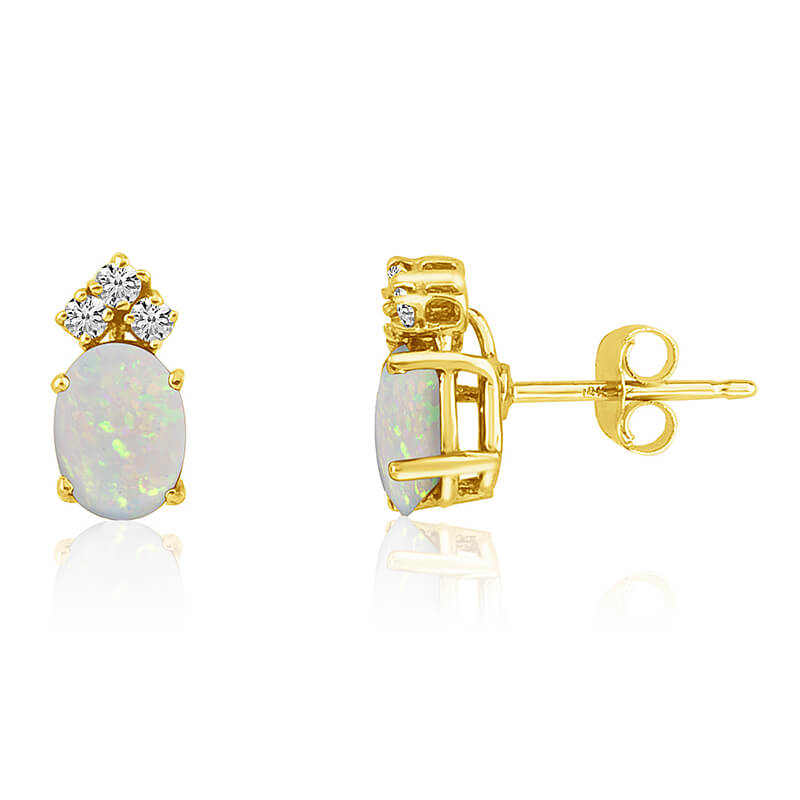 14k Yellow Gold Oval Opal Earrings with Diamonds