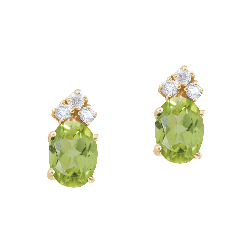JCX2408: These 7x5 mm oval shaped peridot earrings are set in beautiful 14k yellow gold and feature .12 total carat diamonds.