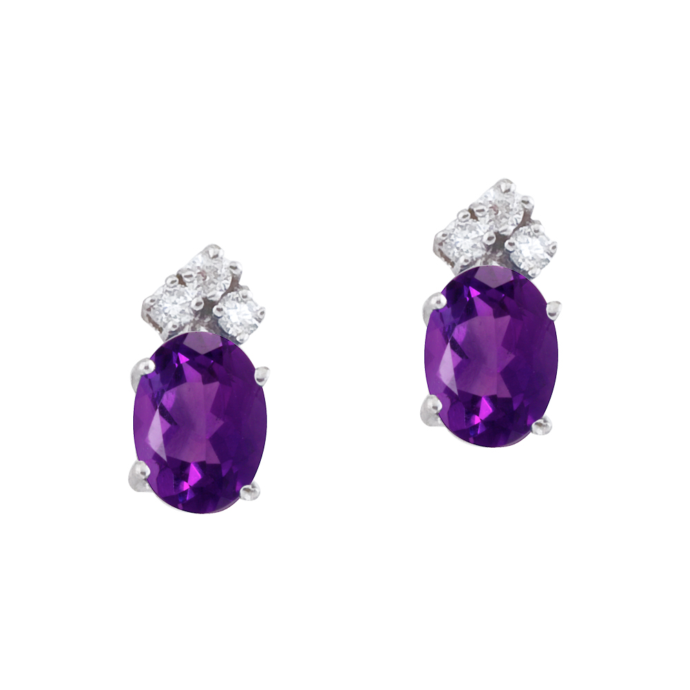 These 7x5 mm oval shaped amethyst earrings are set in beautiful 14k white gold and feature .12 to...