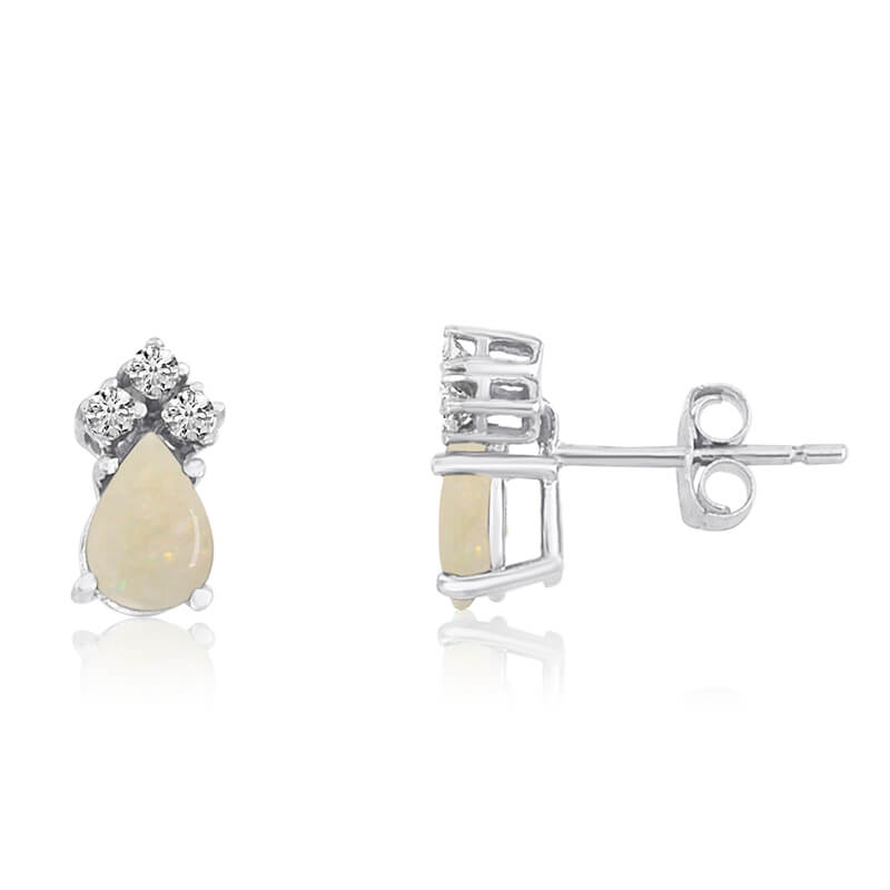 14k White Gold Opal Pear Earrings with Diamonds
