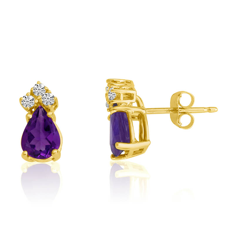 14k Yellow Gold 7X5 Pear Amethyst and Diamond Earrings