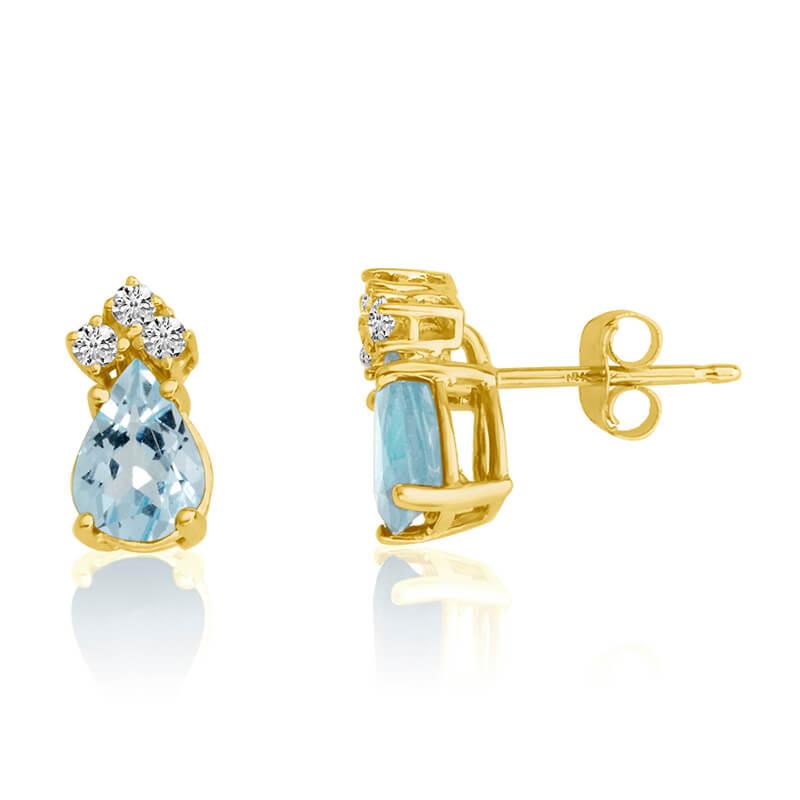 14k Yellow Gold 7X5 Pear Aquamarine and Diamond Earrings