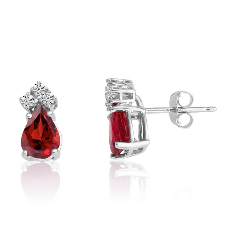 14k White Gold 7X5 Pear Garnet and Diamond Earringsgs